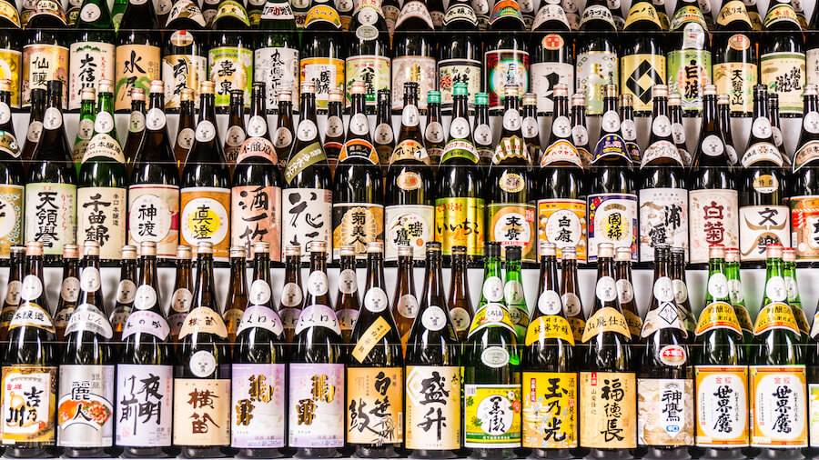 Sake Bottles in 3 rows