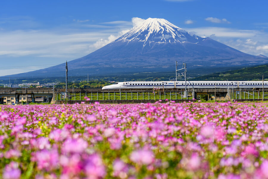 shinkansen at fuji mountain - Japan rail pass guide