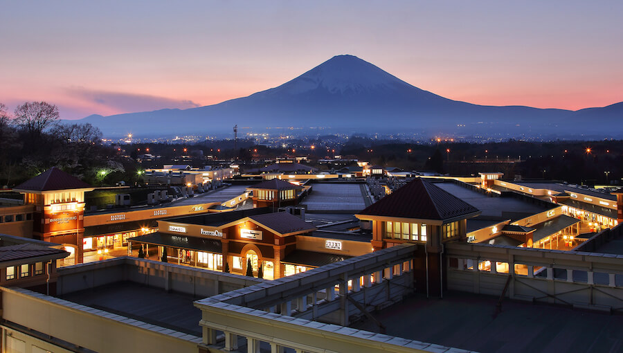 Beautiful scenery of Mountain Fuji view point at Gotemba Premium Outlets - Places to View Mount Fuji