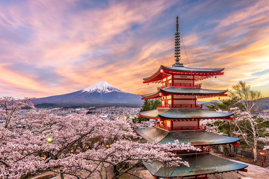 Japan at Chureito Pagoda and Mt. Fuji in the spring with cherry blossoms - places to view mount Fuji