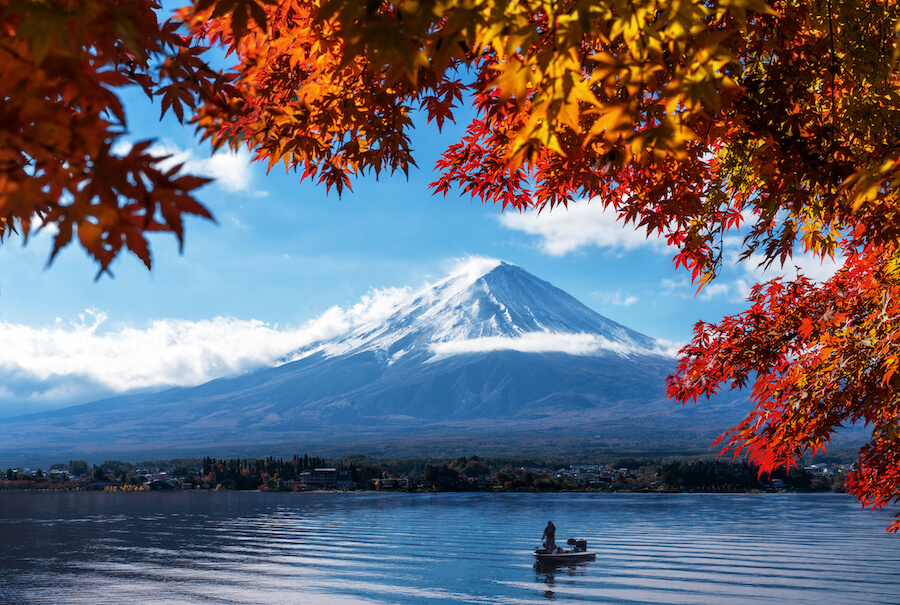 Mt Fuji in autumn view from lake Kawaguchiko - place to view Mount Fuji
