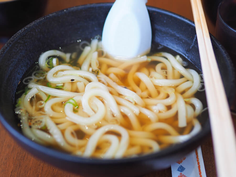 Japanese noodle called udon soup in the restaurant
