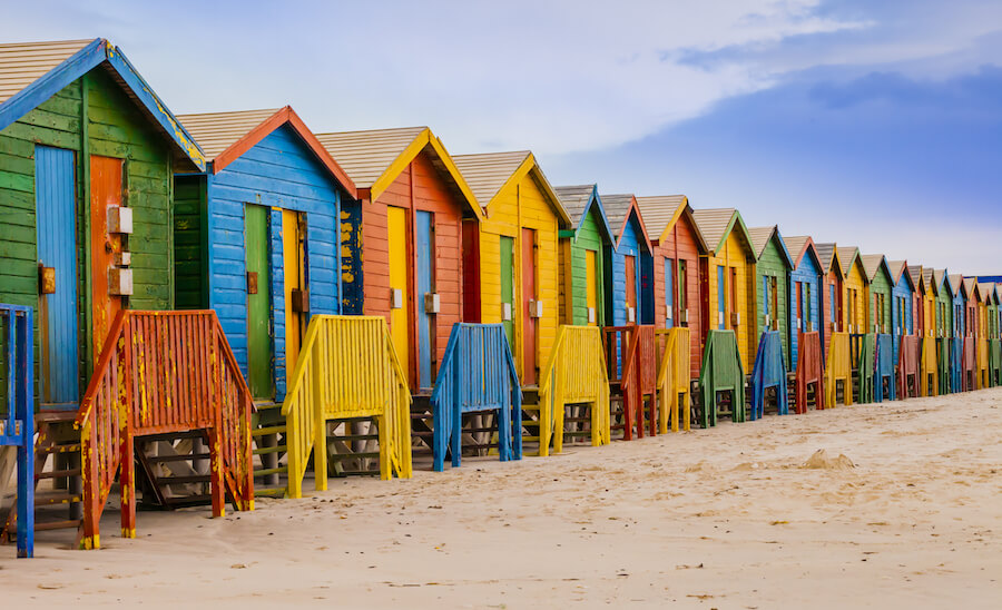 Bathing huts in Muizenberg beach, Cape Town, South Africa - Places To Visit