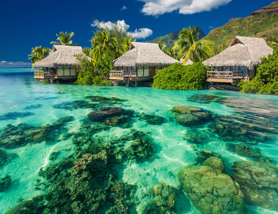 Beautiful above and underwater landscape of a tropical resort - French Polynesia - Places To Visit