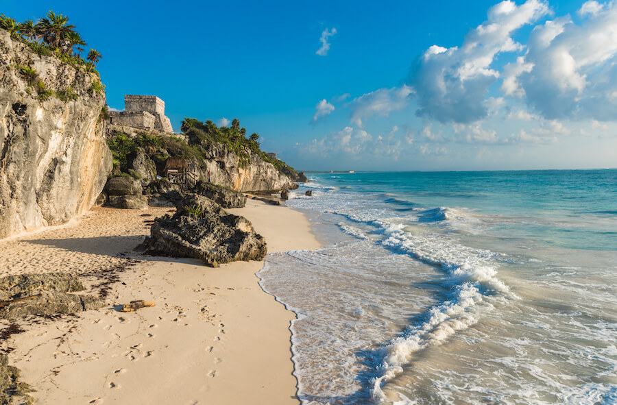 White sand beach and ruins of Tulum, Yuacatan, Mexico - Places To Visit