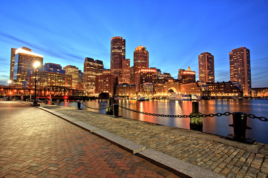 Boston Skyline with Financial District and Boston Harbor at Dusk - Places to visit in the USA