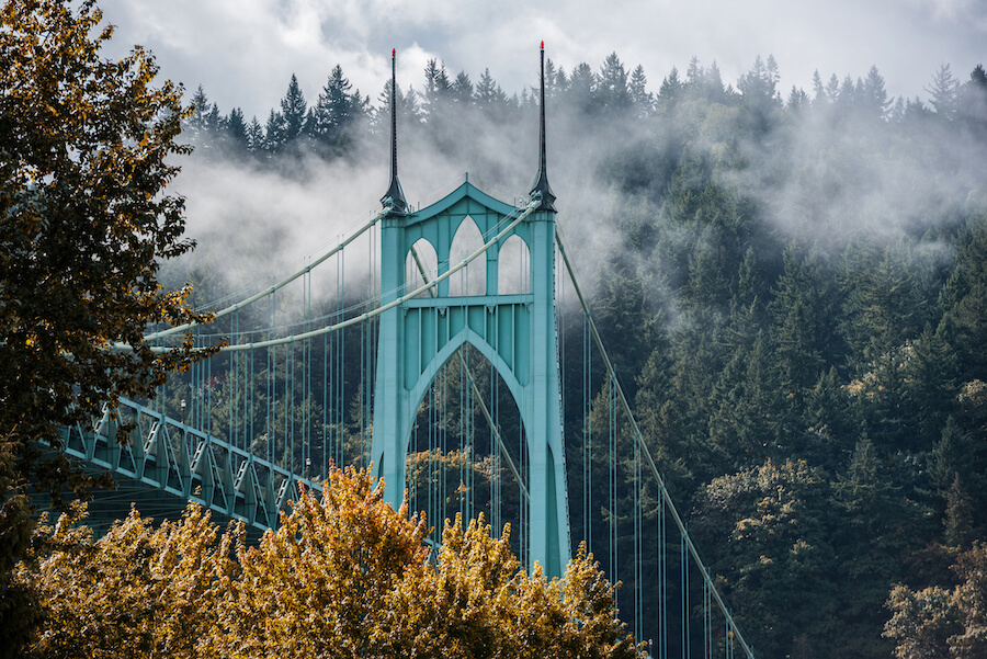 St Johns Bridge in Autumn - portland - Places to visit in the USA