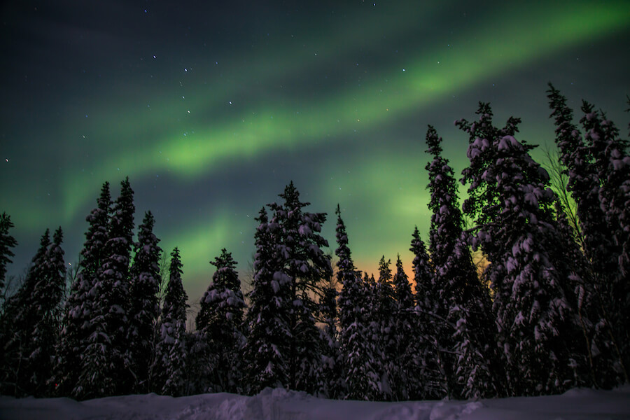 Nothern lights in Akaslompolo, Finish Lapland - Best places to visit each month of the year