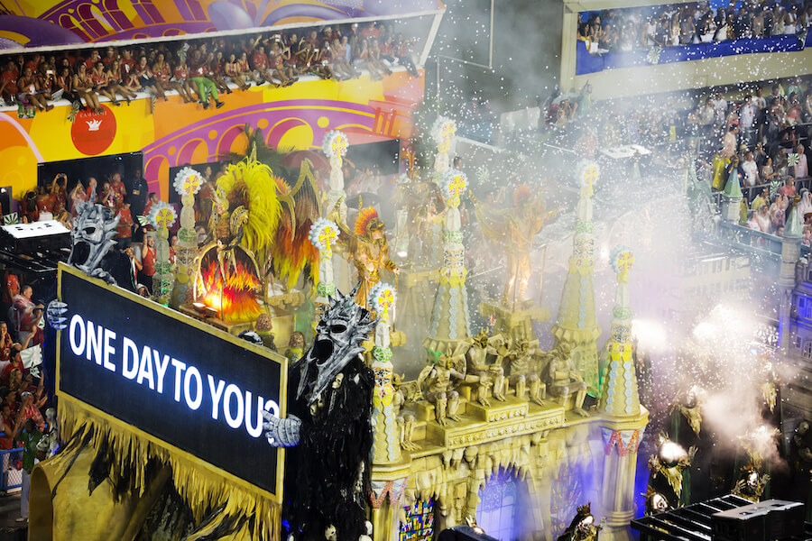 Samba school presentation in Sambodrome, Rio de Janeiro carnival - Best places to visit each month of the year