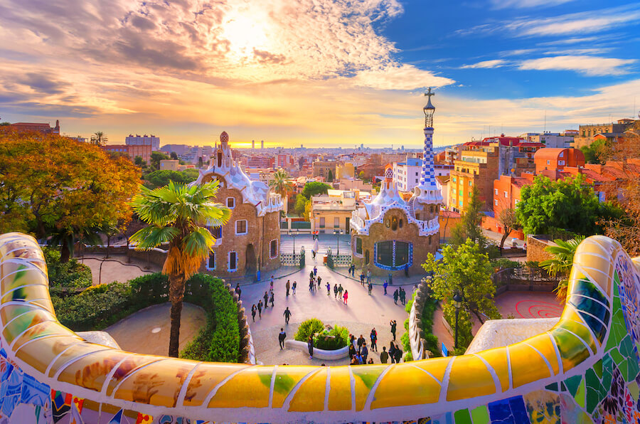 View of the city from Park Guell in Barcelona, Spain - Best places to visit each month of the year
