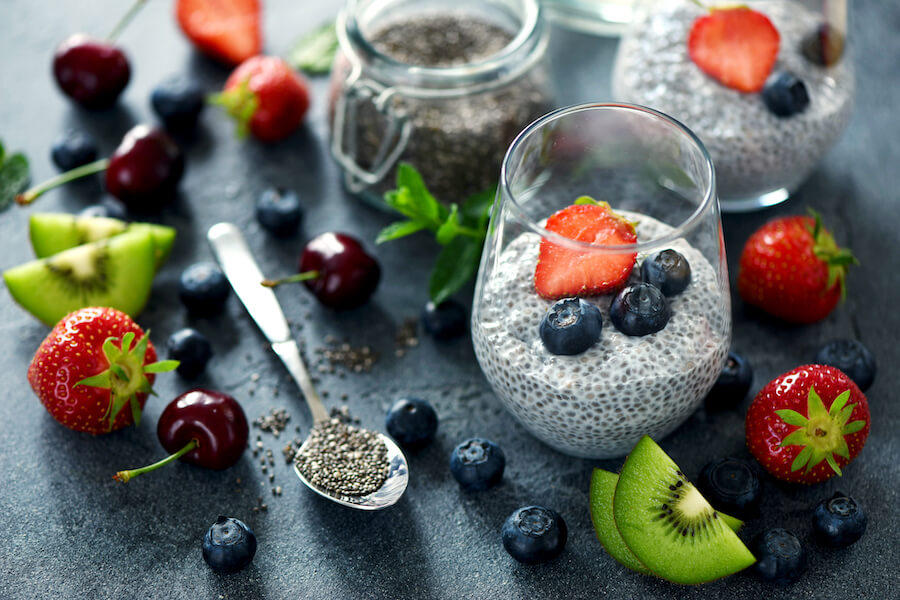 Chia pudding with berries - foods that burn belly fat