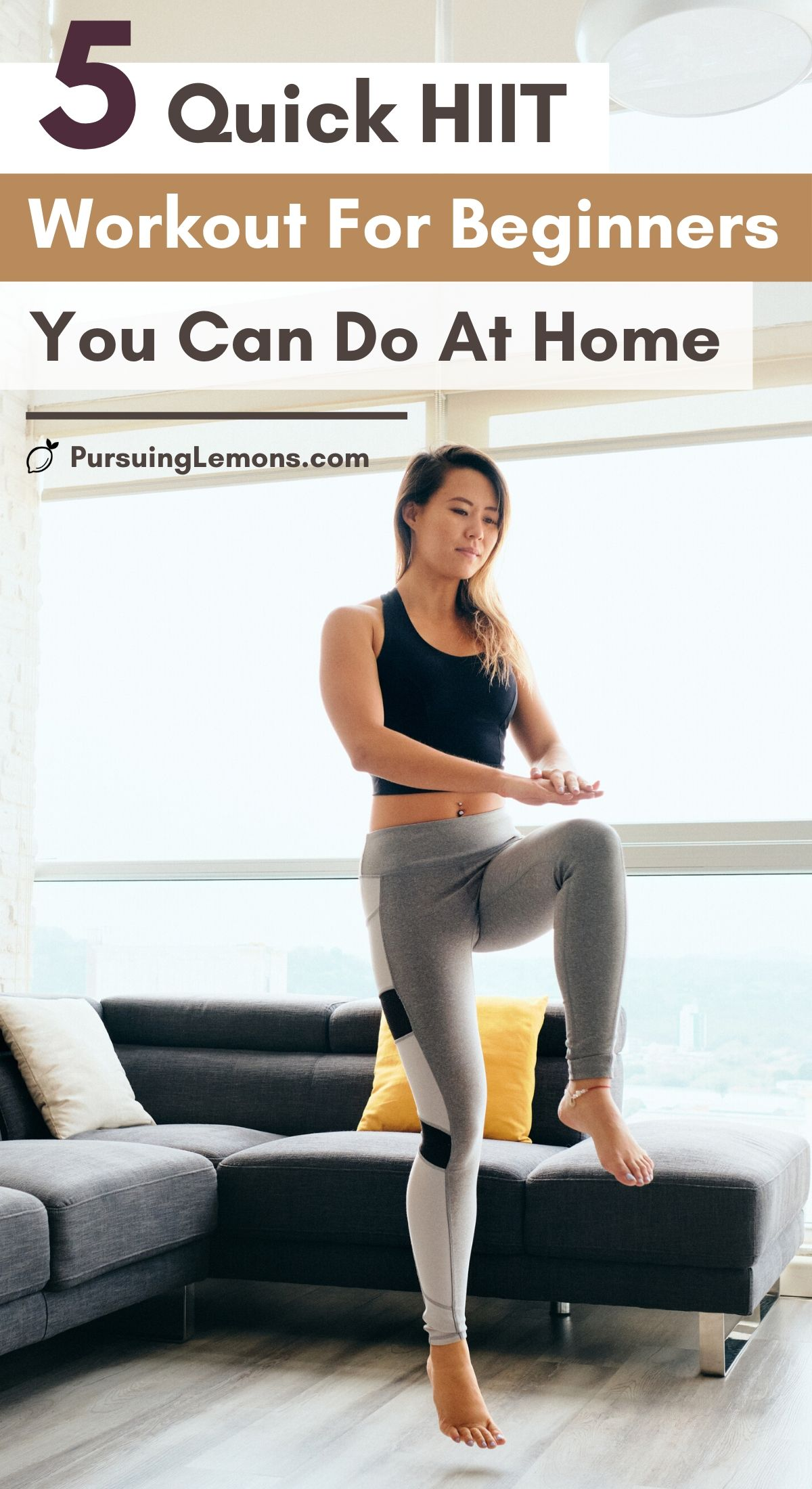 5 Quick HIIT Workouts For Beginners | These HIIT workout routines will burn belly fat and help you slim down in no time. It is a workout for beginners and you can do them at home. These cardio plus strengthening exercises is what makes HIIT so awesome and practical. High intensity interval training is meant to help you burn calories even after you had finished the workout. #HIIT #hiitworkout #workoutsathome