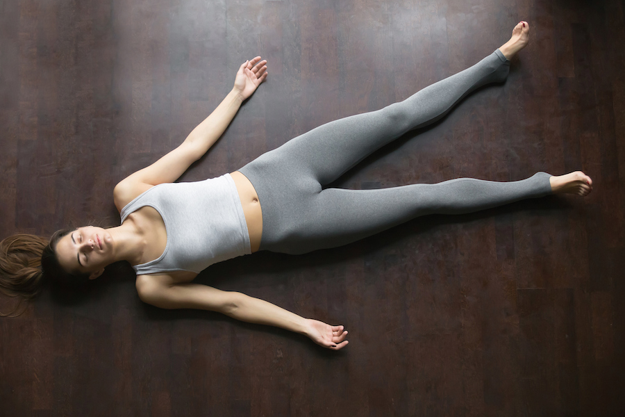 Corpse pose - yoga poses to fall asleep faster