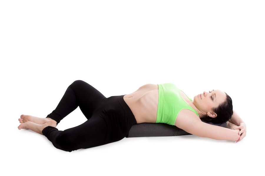 Reclining Bound Angle yoga Pose - yoga poses to fall asleep faster