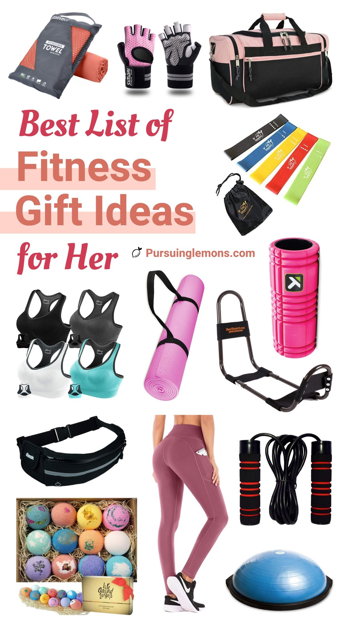 The Best List Of Fitness Gift Ideas For Her: health and fitness gifts, workout gifts for her, gym lover gifts, women fitness gifts, best fitness gifts, and workout presents.  If you're looking for the best fitness gift ideas for her, start with this list! #fitnessgift #giftguidefitness #fitnessgiftforher