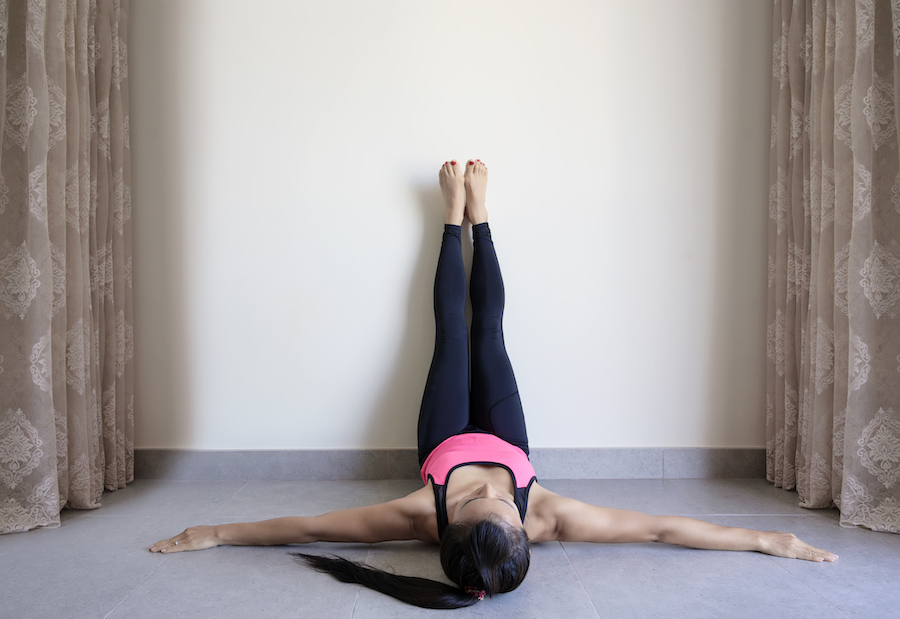 legs up the wall pose - yoga poses to fall asleep faster