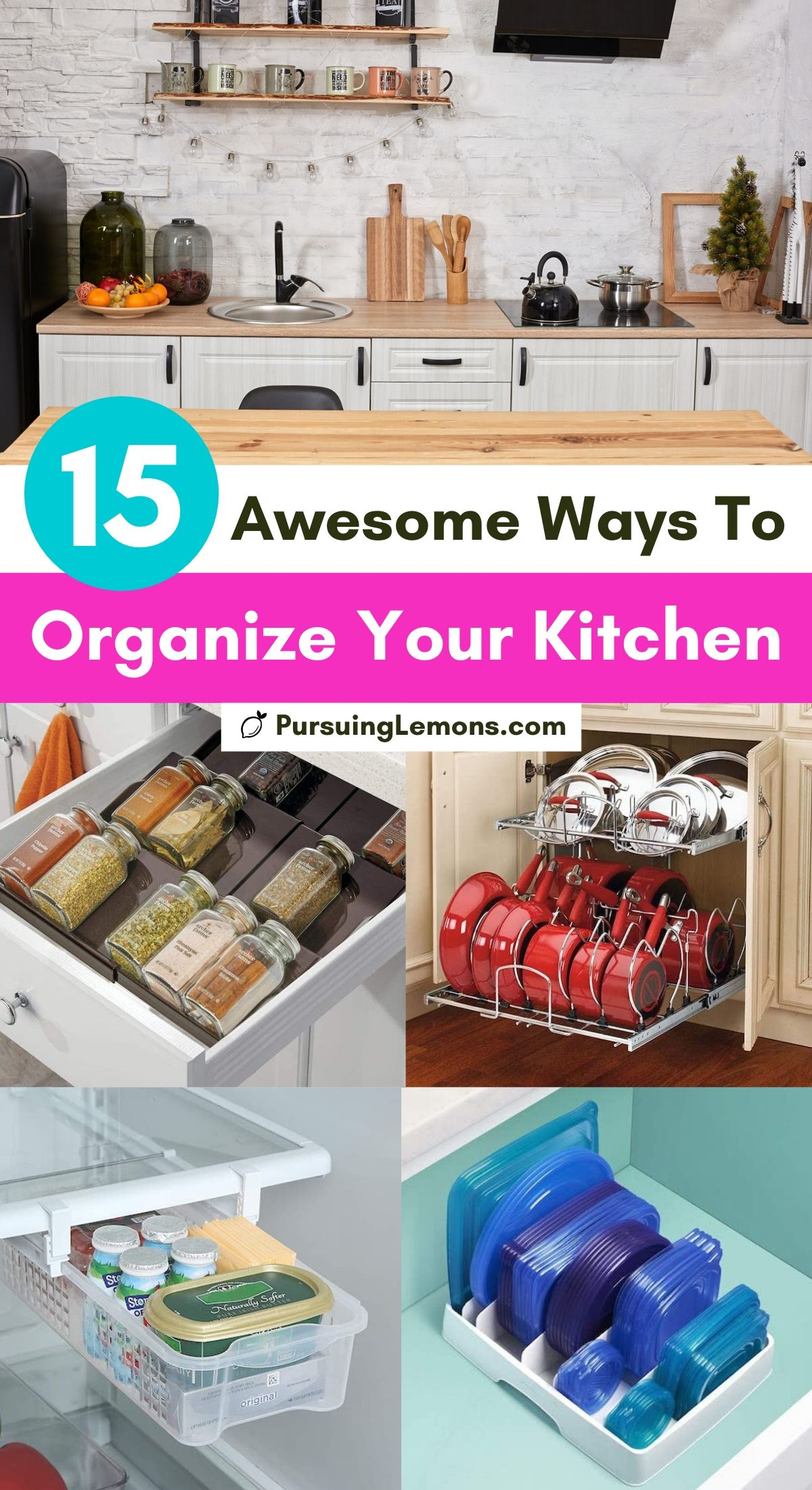 15 Awesome Ways to Organize Your Kitchen | Are you struggling to keep your kitchen organized? Do you need some kitchen organization tips? Here are 15 kitchen organization tricks for your counters, pantry, fridge, freezer, cabinets, and drawers! #kitchenorganization #organizekitchen #kitchenorganizationtips