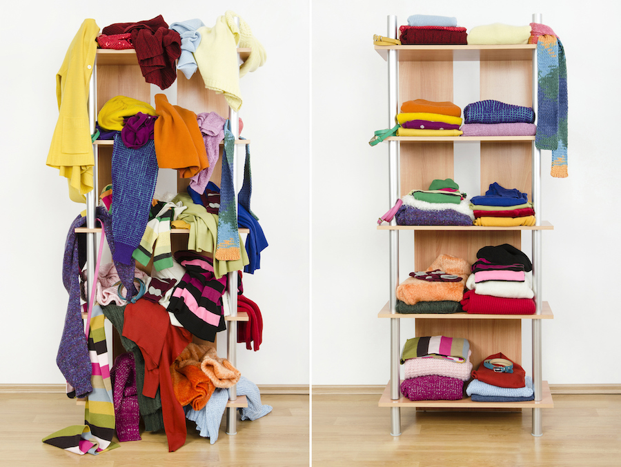 Before untidy after tidy wardrobe with winter clothes and accessories - Easy Home Organization Tips to Help You Start Organizing