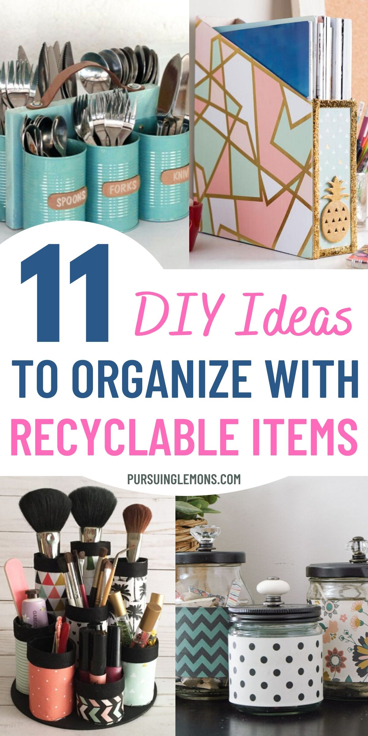 11 DIY Ideas To Organize With Recyclable Items | Organize your home while saving money with these DIY organization ideas with recyclable items! The things you are throwing away can create amazing organizers, so organize in a budget! #diyorganizers #recycle #cheaporganization