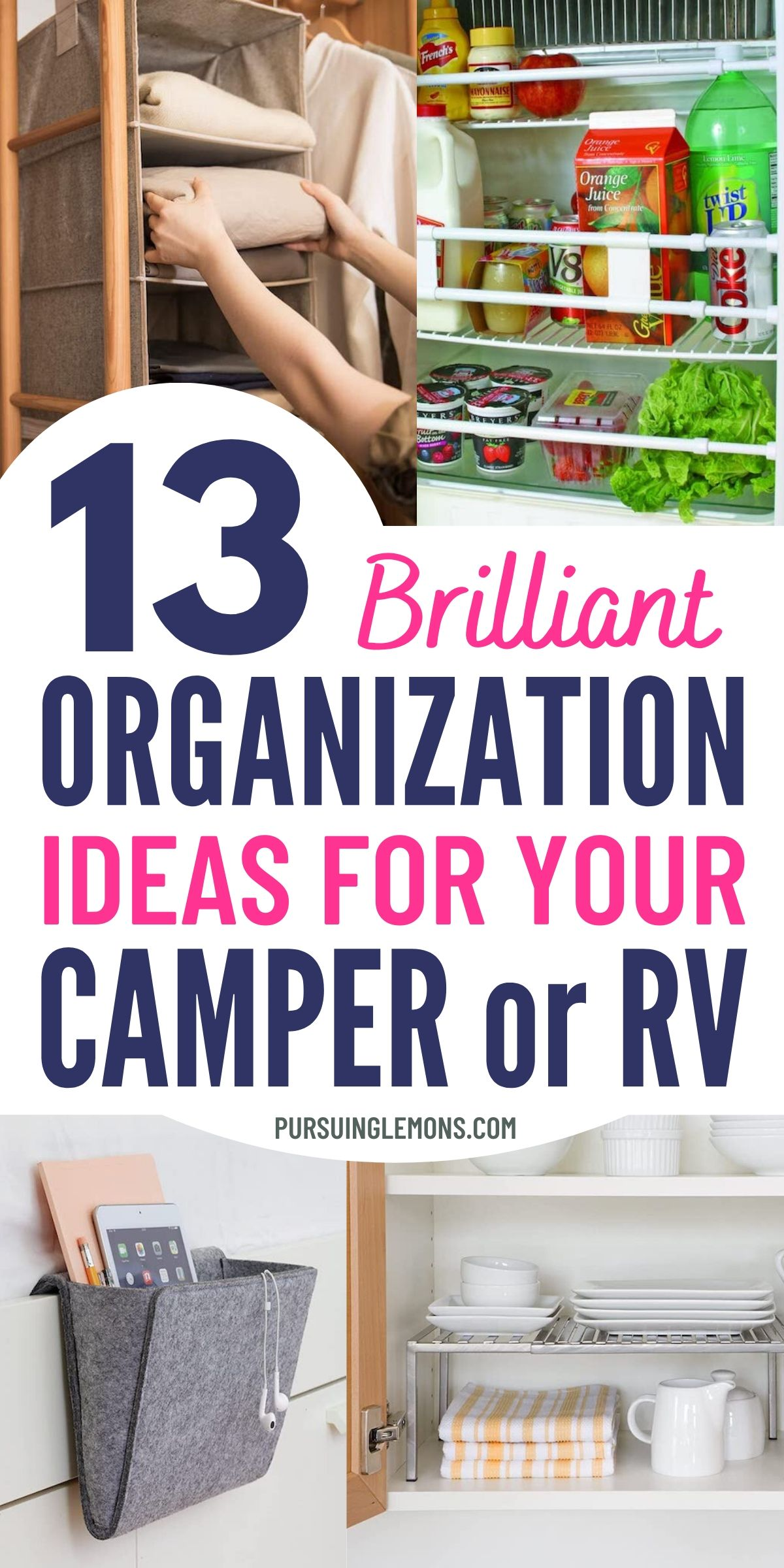Do you need help organizing your camper or RV? You can check out this list of brilliant RV organization ideas and clever RV storage ideas. Try these organization ideas for your camper today! #rvorganization #organizing #camperideas #rvideas