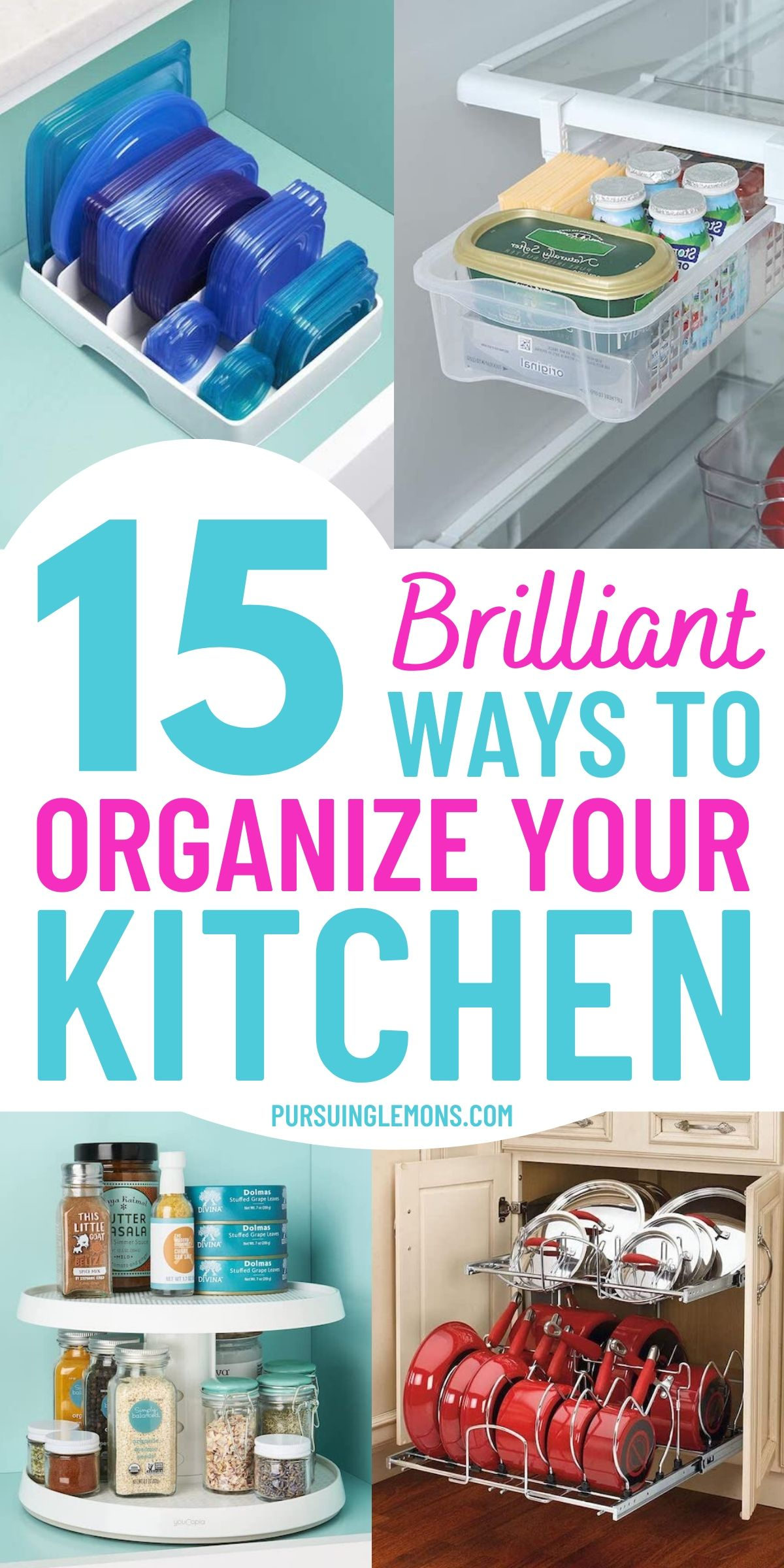 It can be hard organizing a small kitchen, especially if you lack kitchen storage. Here are some kitchen organization ideas to help organize your kitchen. So, try out these kitchen DIY ideas and kitchen organization tips now! #organizekitchen #kitchenideas #kitchenorganization