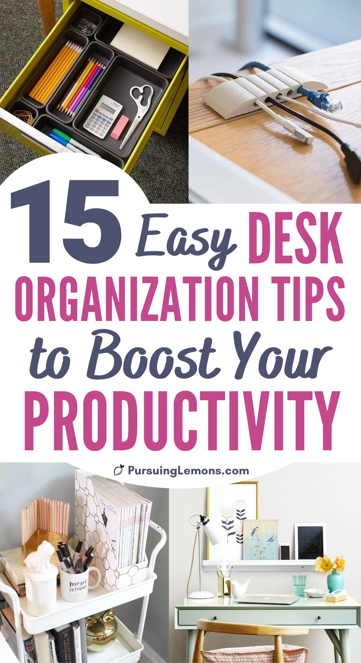 In need of some storage ideas for your office space? Organize desk with these desk organization hacks. Become more productive with a neat workspace and get rid of paper clutter. #organizingdesk #deskorganization #organization