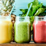 Freshly blended fruit smoothies of various colors and tastes - Weight Loss Smoothie Recipes