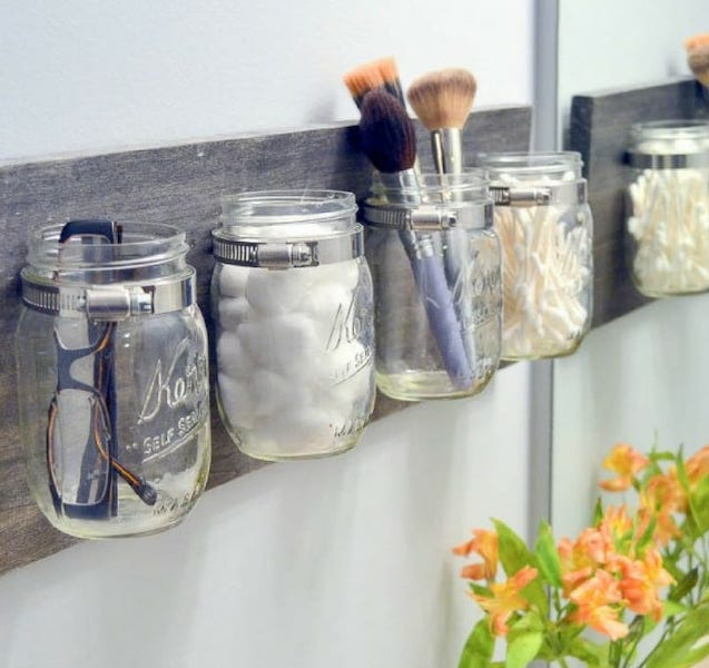 Mason Jar Organizer - bathroom organization ideas