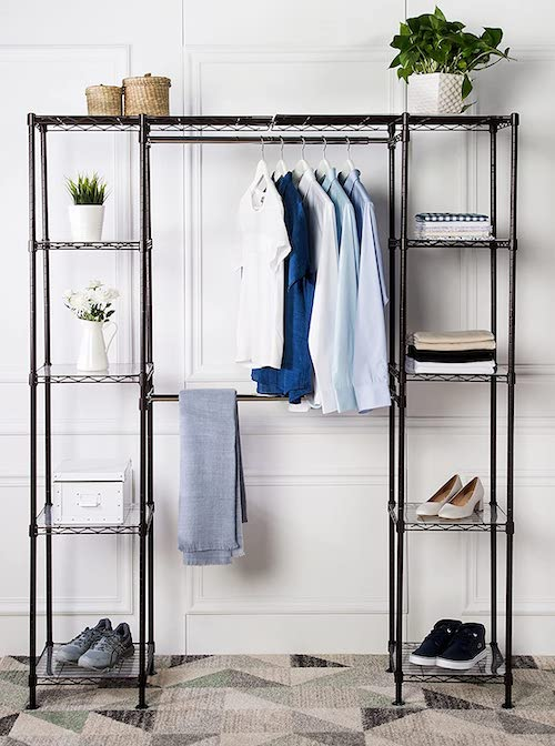 Metal Hanging Rack Wardrobe - bedroom organization ideas