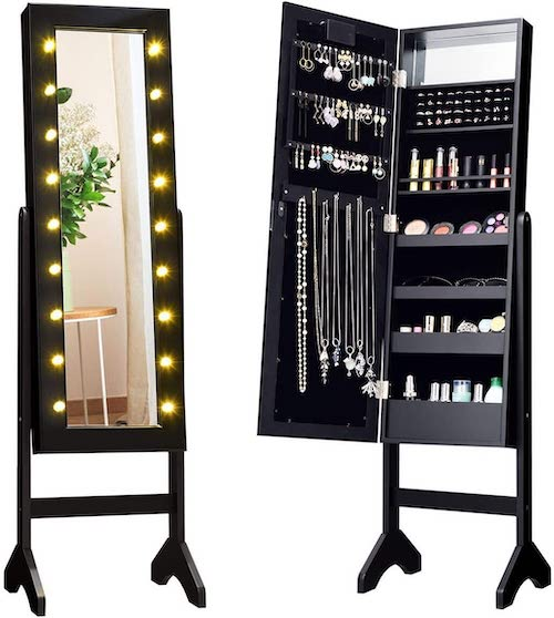 Mirrored Jewelry Cabinet - bedroom organization ideas