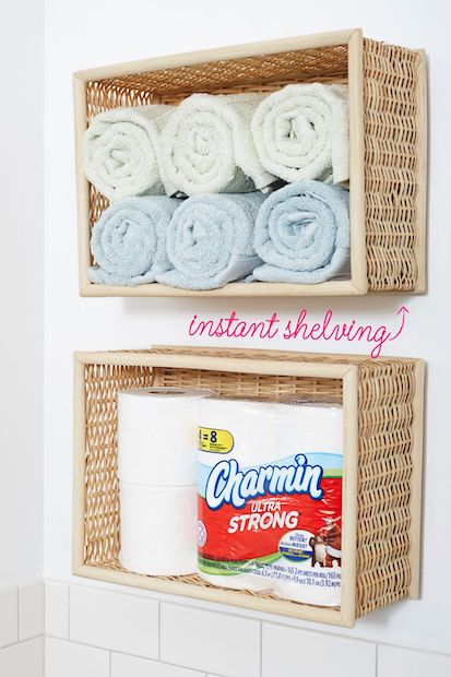 Open shelves using Baskets - bathroom organization ideas