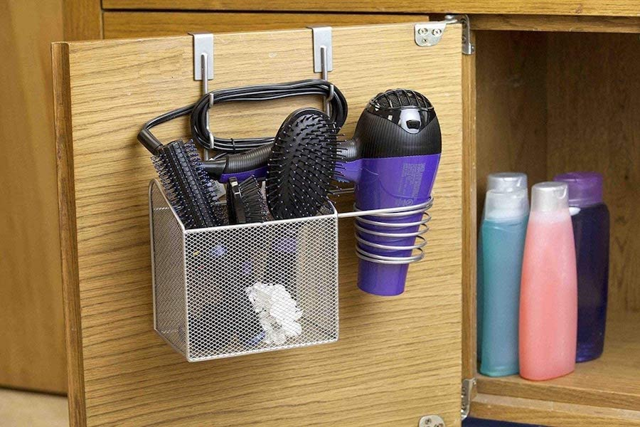 Over the Cabinet Door Storage Basket - bathroom organization ideas