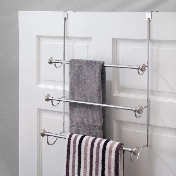 Over the Shower Door Towel Rack - bathroom organization ideas