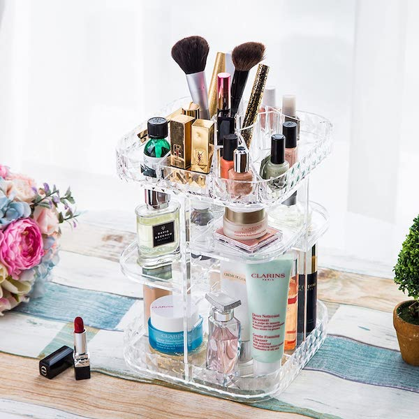 Rotating Cosmetic Storage Box - bedroom organization ideas