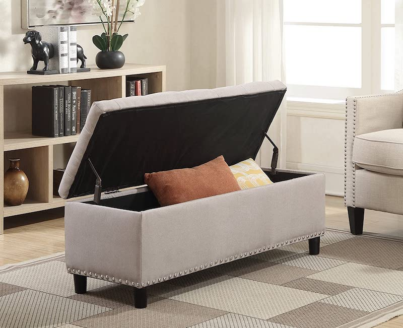 Storage Fabric Ottoman Bench - bedroom organization ideas
