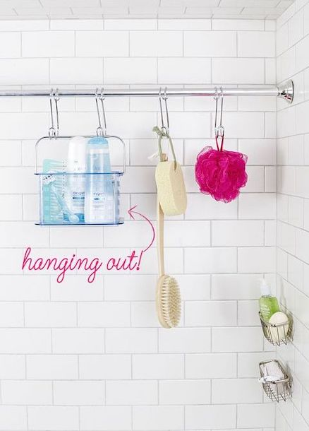another rod for hanging item - bathroom organization ideas