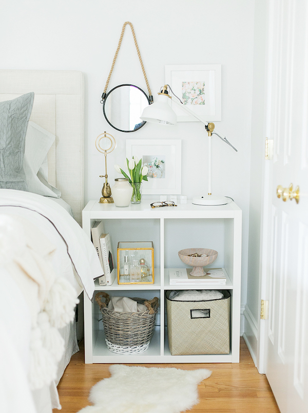cube organizer nightstand - bedroom organization ideas