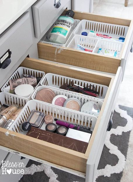 plastic baskets in drawers - bathroom organization ideas