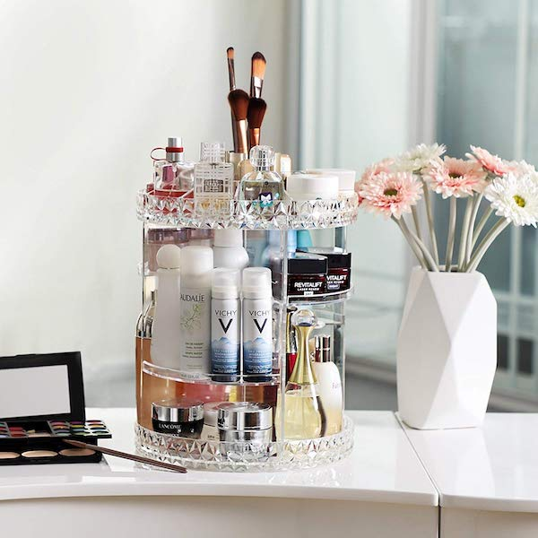 rotating cosmetic organizer - bathroom organization ideas