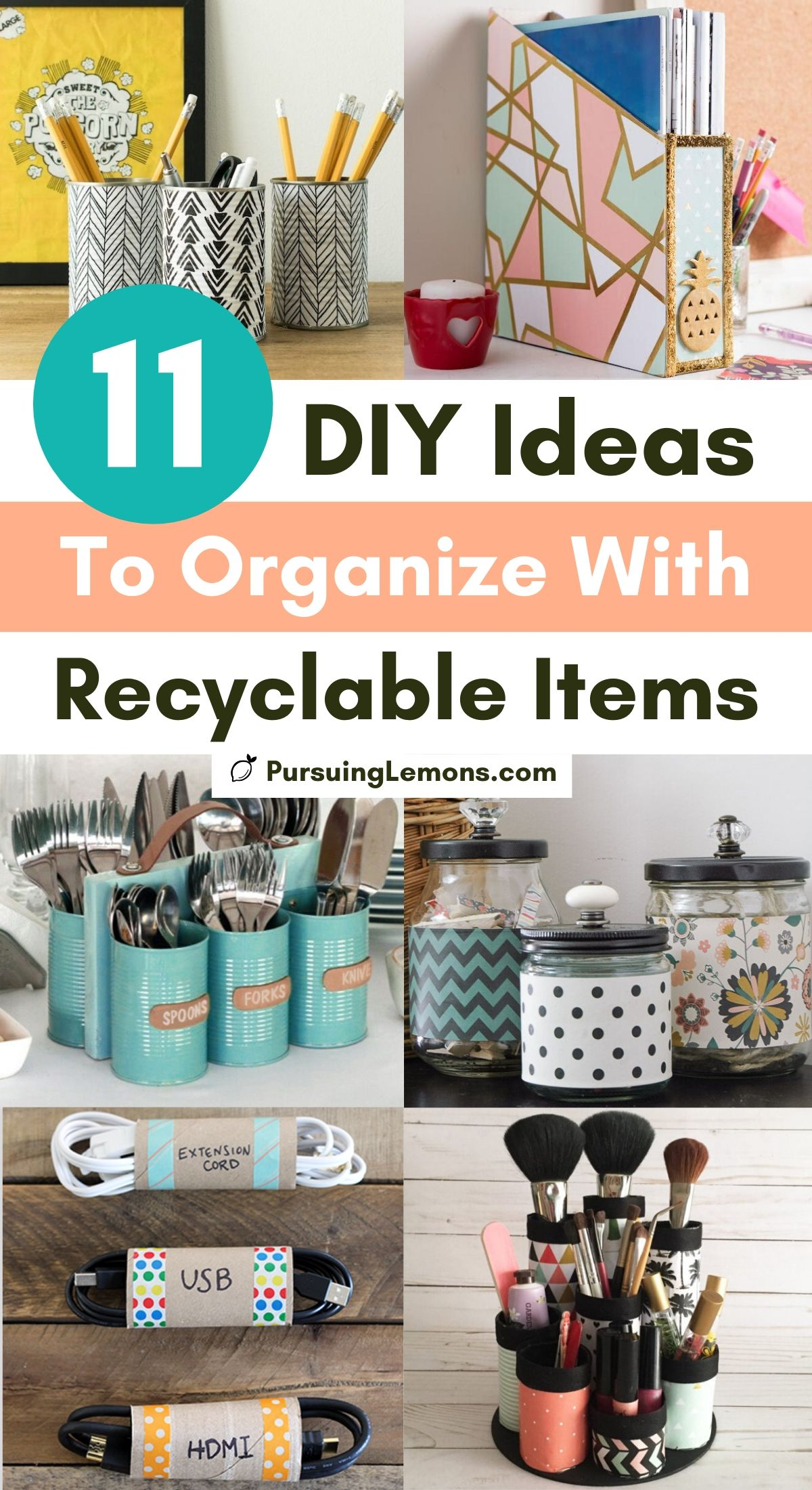 11 DIY Ideas To Organize With Recyclable Items | Want to organize without spending a ton of money? Try these DIY organization ideas with recyclable items! The things you are throwing away can actually be used to create amazing organizers! #diyorganizers #recycle #cheaporganization