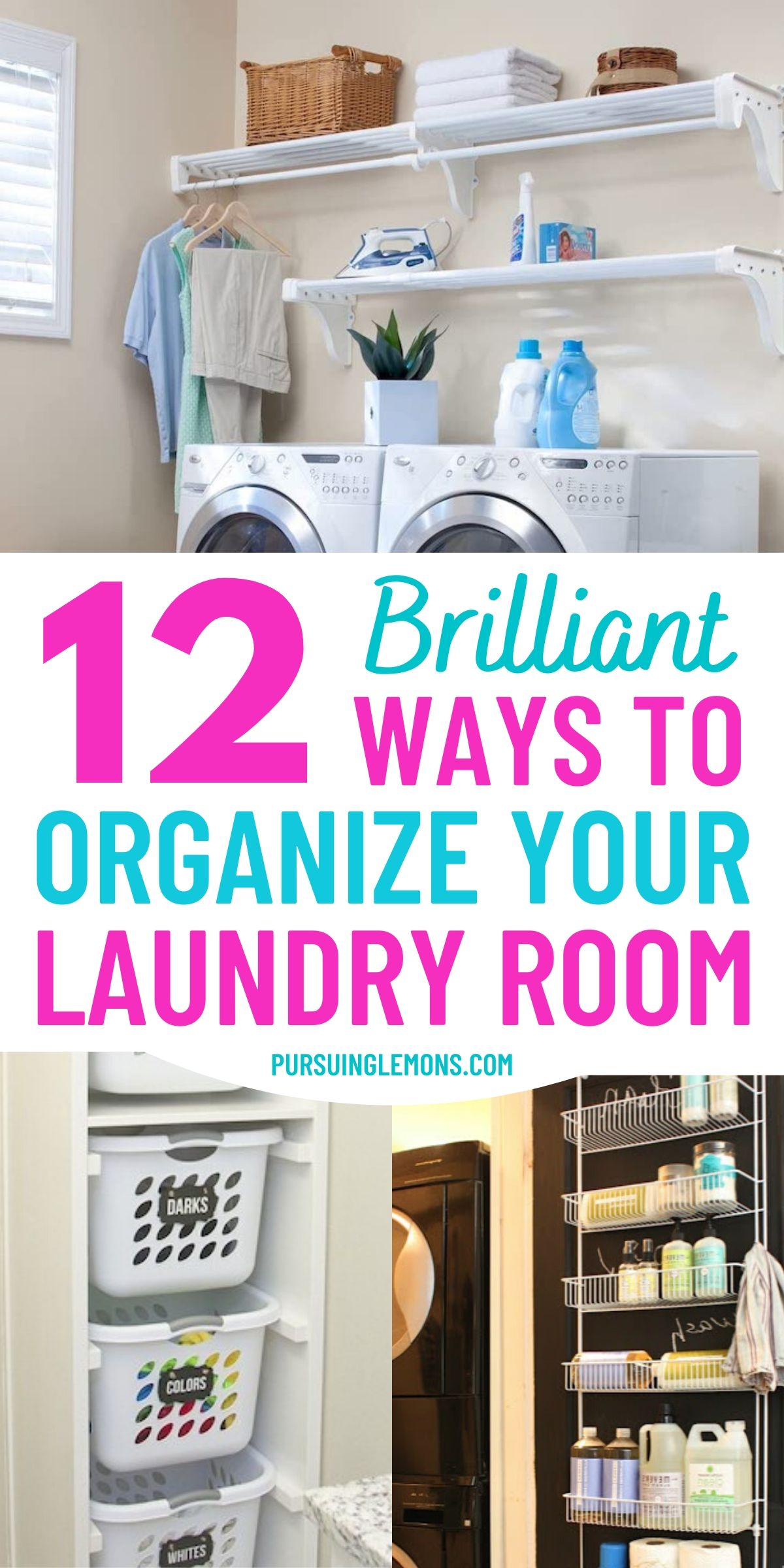 12 Laundry Room Hacks That Will Make Your Life So Much Easier | These laundry room organization ideas are going to make you love doing laundry again! Try these laundry room tricks and laundry room organization hacks today! #laundryhacks #laundryorganization #laundryroom