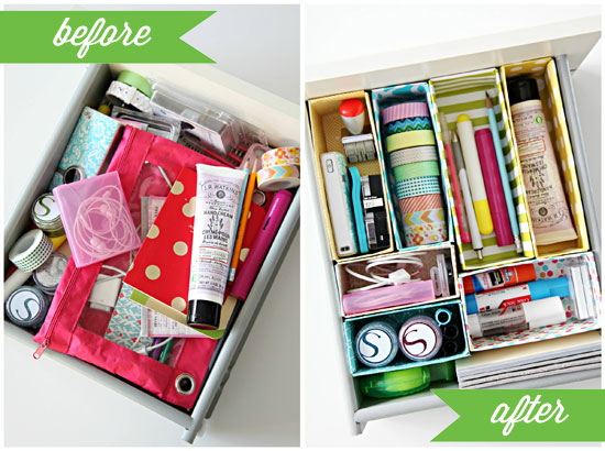 Cereal Box Desk Drawer Organizer Before & After - organize with recyclable items