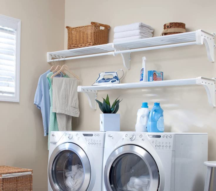 Expandable Laundry Room Organizer - laundry room hacks