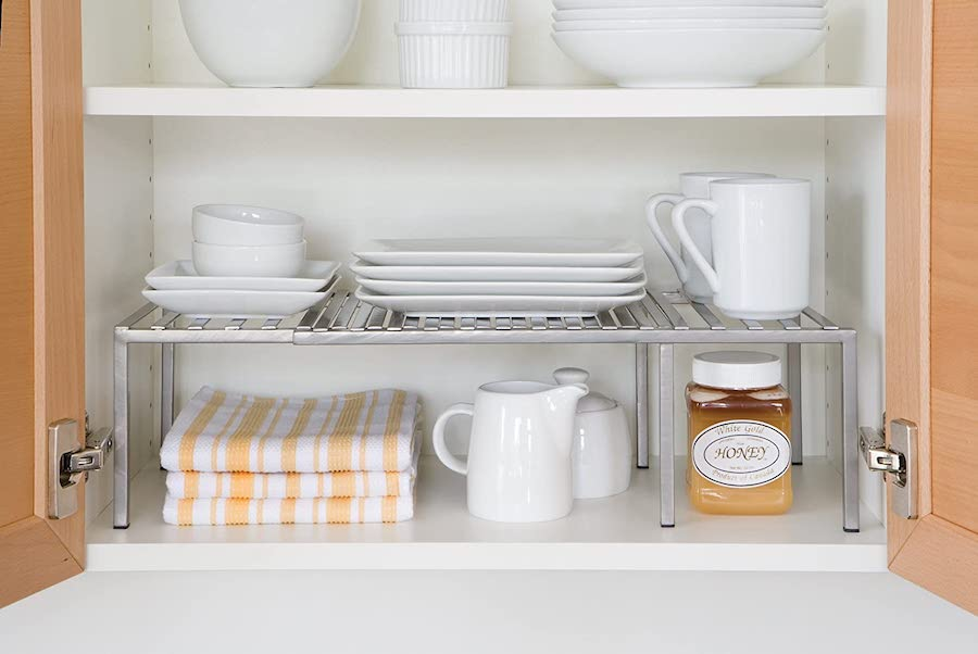 Extra Shelving in cabinet - organization ideas for your camper or RV