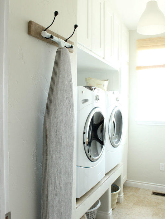 Hang Your Ironing Board - laundry room hacks