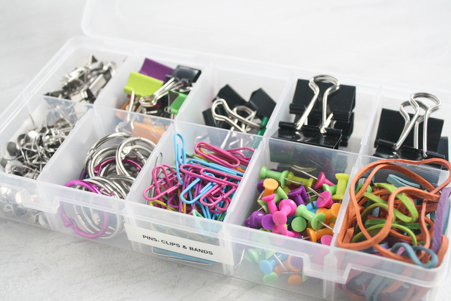 Store office Supplies in Tackle Box - desk organization hacks
