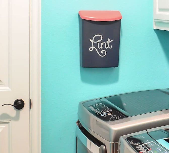 Lint Bin - laundry room hacks
