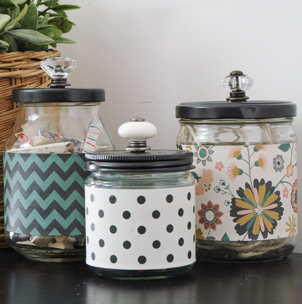 Stylish Recycled Storage Jars - organize with recyclable items