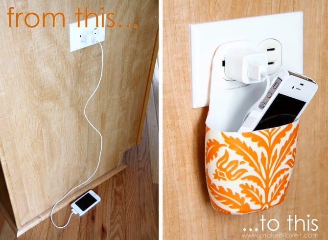 cell phone holder made from lotion bottle - organize with recyclable items