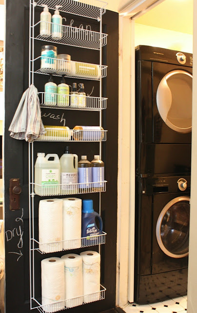 laundry room door rack - laundry room hacks